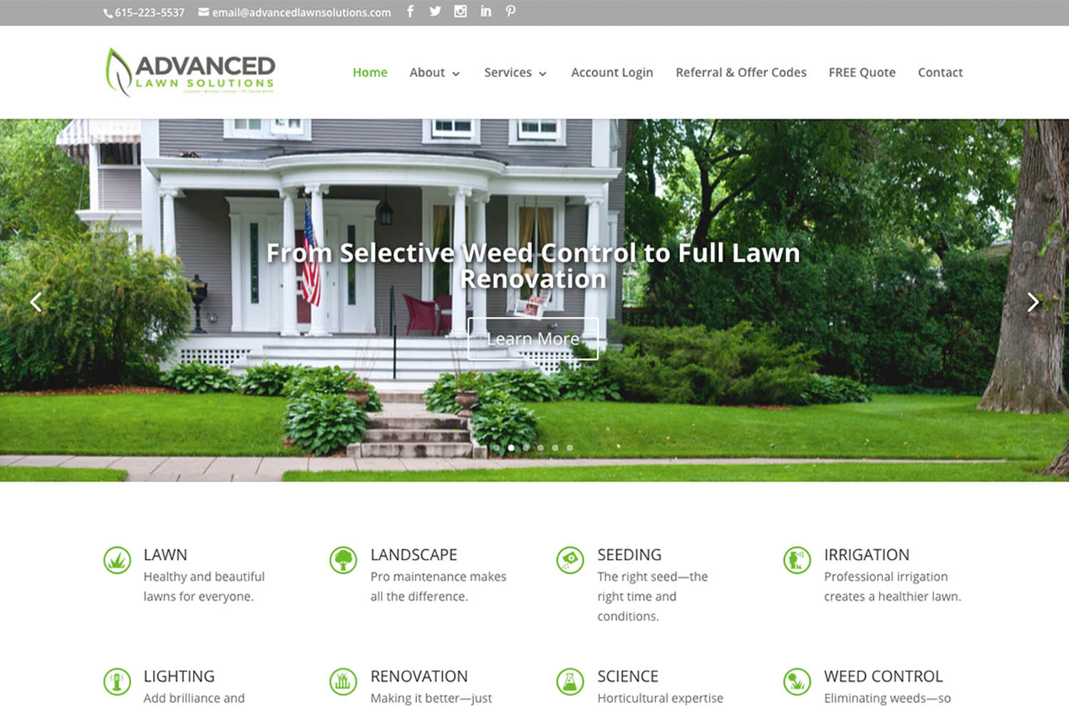 Advanced Lawn Solutions. Murfreesboro, TN - website image
