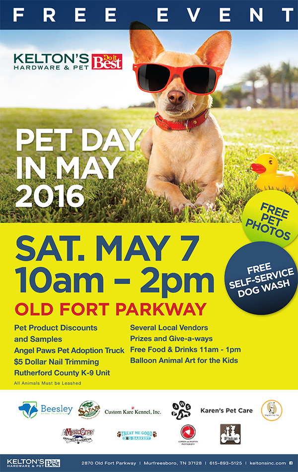 Kelton's Pet Day in May Email Blast Flyer