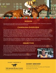 Electronic Press Kit for Danny Brewer's Horseracing Scoop, Smyrna, TN