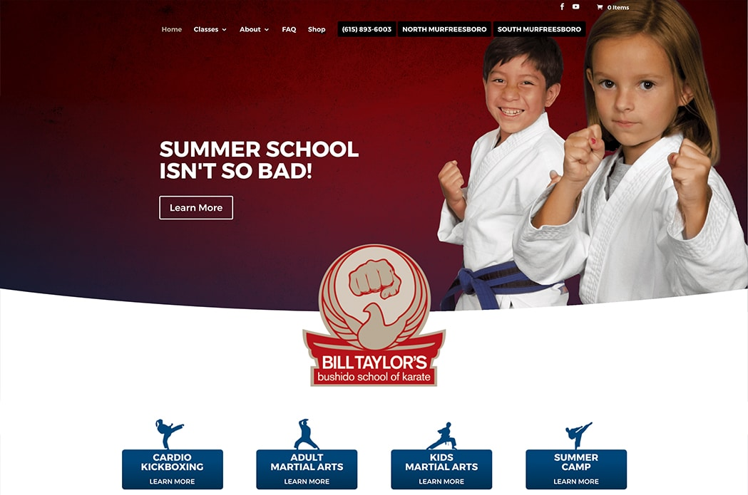 Bill Taylor's Bushido School of Karate. Murfreesboro, TN - website image